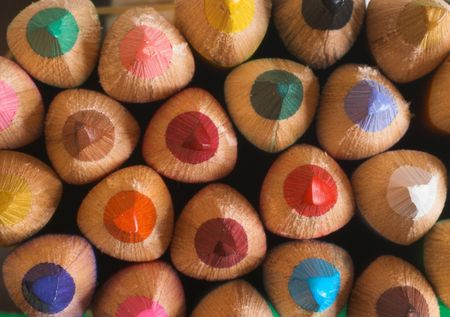 coloured pencils are as a background, macro photo