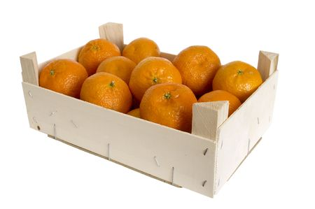 box with mandarins is on white