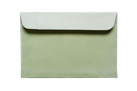 old green envelope is on white Stock Photo - 6535251