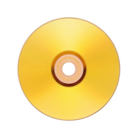 rewritable: gold disk is on white Stock Photo