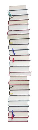 books are on white background