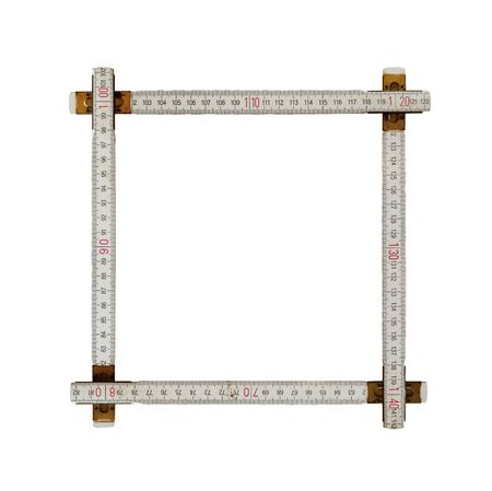 frame made from an old ruler is on white background Stock Photo
