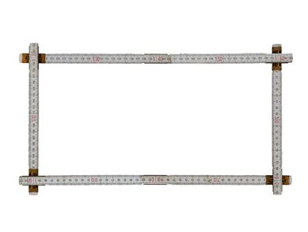 frame made from an old ruler is on white