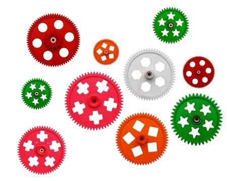 toy gear wheels are on white