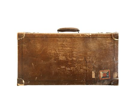 old suitcase is on white photo
