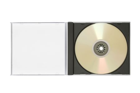 case with a blank cover and a disk are on white Stock Photo