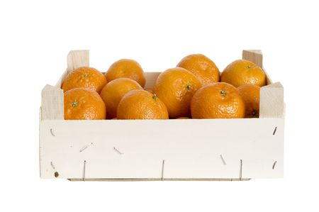 box with clementines is on white background