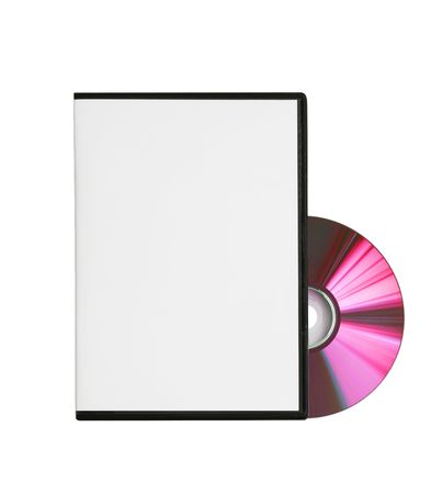 disk and a blank box for the disk are on white background Stock Photo