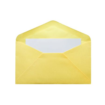 envelope with a blank card is on white background