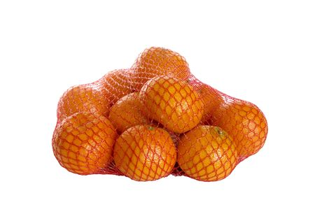net with mandarins is on white background Stock Photo