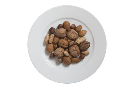 nuts are on the plate on white