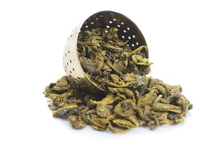 chinese green tea is on white background