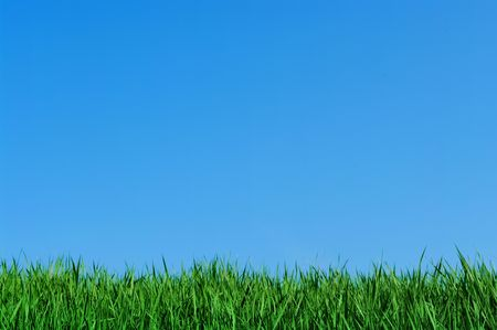 green grass and blue sky, background Stock Photo