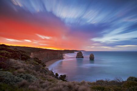 colorful sunrise: Colorful Sunrise at 12 Apostles Stock Photo