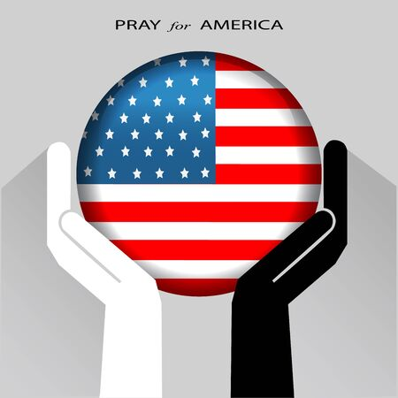 Praying hands with National Flag of the UNITED STATES OF AMERICA, Pray for AMERICA concept, Save USA, sign symbol background, vector illustration.