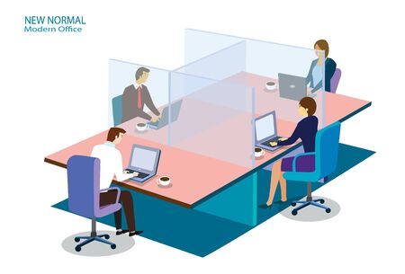 New normal modern office keep distancing concept. Business office people maintain keep calm social distancing. Vettoriali