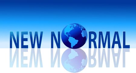 New normal lettering with reflection on blue background, New normal lifestyle concept after COVID-19 outbreak,vector illustration for graphic design,website or banner 일러스트
