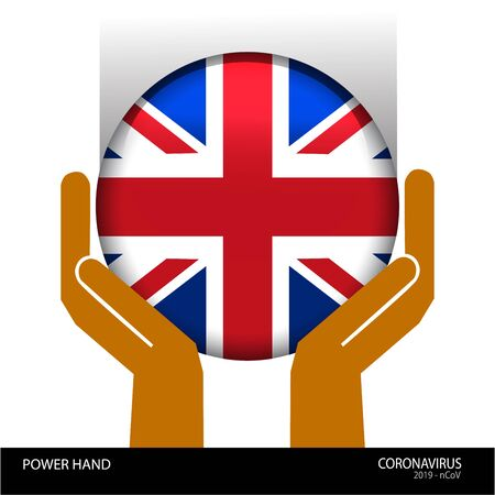 Power hand with the United Kingdom flag button fight to coronavirus or covid-19 virus , protect for england concept, cartoon graphic, sign symbol background, vector illustration