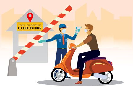 Checking body temperature concept. delivery man on motor bike at check point, vector illustration
