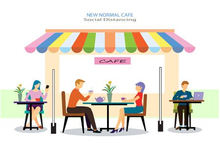 New normal is social distancing concept. People sitting in coffee cafe lifestyle after pandemic covid-19 corona virus . Flat design style vector ,illustration