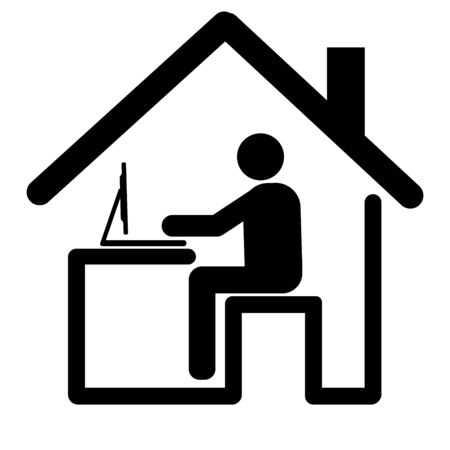 Flat design for work from home icon. Comprised of people, desks, chairs, notebooks, sign,symbol,vector