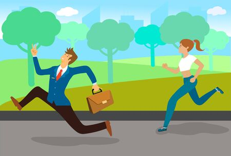 Businessman hurry to work with running  through runners woman in the park. Flat cartoon vector illustration.