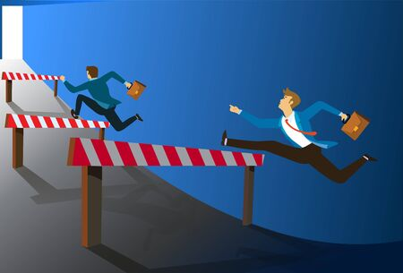 Businessman Running and jumping over barrier at opening the door. Concept business open again. vector illustration Ilustração Vetorial