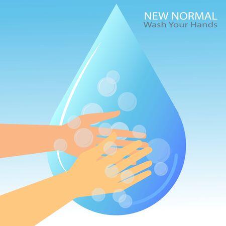 new normal concept. Wash your hands on blue background with water drops,sign,symbol illustration