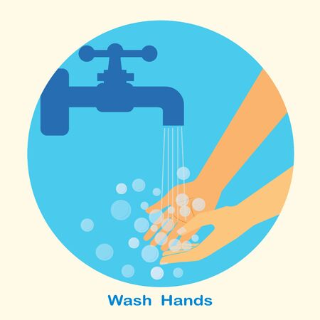 Wash hands under water tap. Arm in foam soap bubbles. Vector illustration flat design isolated on blue background. Personal hygiene. Disinfection, skin care. Antibacterial washing