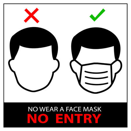 No wear a Face Mask, No Entry Sign against the Spread of the Novel Coronavirus Covid-19. Vector Image.