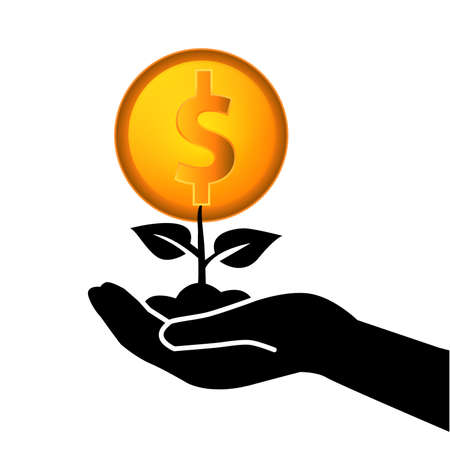Plants icon isolated seedling money tree on hand vector images, Wealth icon suitable for info graphics, websites and print media and interfaces. Line vector icon Illustration