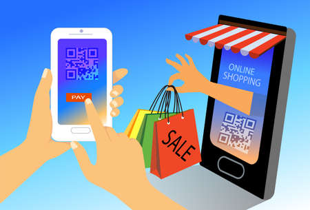 Online shopping concept. woman hands holding smartphone with scan QR code for payment, flat design illustration