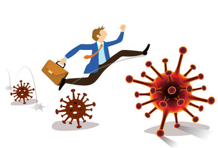 Flat cartoon image of business man in blue suit  jumping a coronavirus crisis COVID-19  that affect the global economy. Business concept. vector illustration