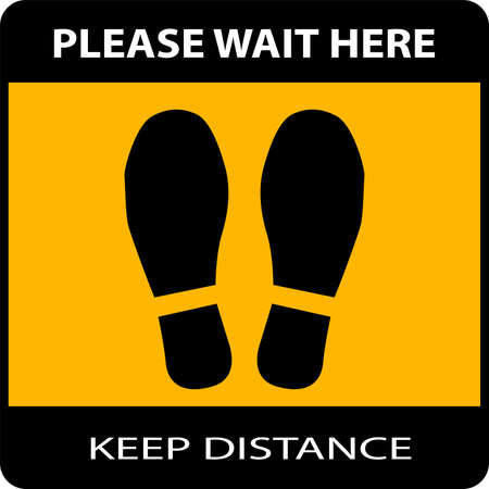 Social distancing banner. Please Wait Here or Stand Here . Marking Sticker Icon with a Pair of Shoe prints or Footprints Icon. Vector Image.