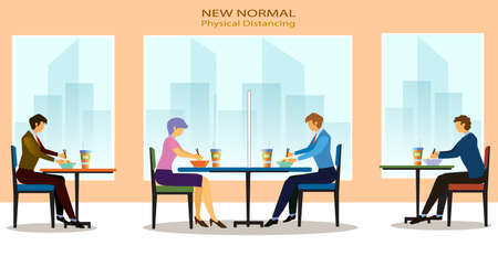 New normal, physical distancing concept in food shop : a man and a woman sit a distance apart in food center, a restaurant or a cafe . COVID-19 pandemic time. Vector illustration, Flat design