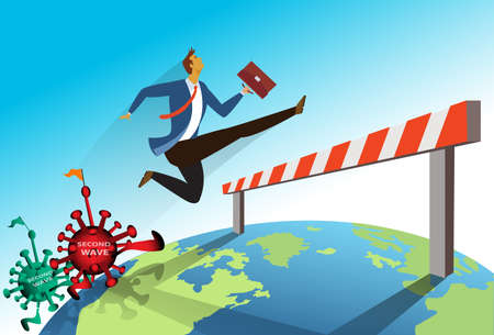 Flat cartoon image of businessman jumping over a barrier crisis COVID-19 Coronavirus that affect the global economy. Business concept. vector illustration Illustration