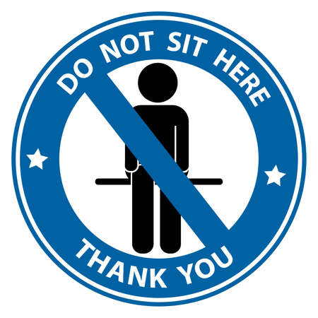 Please don't sit here for Keep Social Distance. For prevention of spreading the infection in Covid-19. Vector illustration of people icon with Social Distance concept.