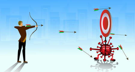 Confuse businessman shooting arrow with a dropdown target on crisis coronavirus covid 19. Concept of lost goal or business failure. Flat isolated vector illustration. Stock Illustratie