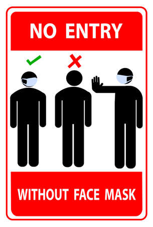 No Entry Without Face Mask.Warning Sign For Use Mask In This Area. Face Mask Area And Mask Required. Vector Illustration On a red background. Flat Design Style. Modern Style Illustration