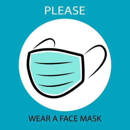 Please wear a face mask instruction icon. Vecteurs