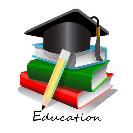 Vector, illustration,symbol of pencils , books and graduation hat, education concept