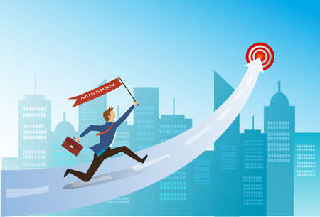 Businessman with misson flag running up arrow to the target, Challenge, Trouble, obstacles, Path to the goal, Business concept growth to success, Creative ideas, Reach the target, vector and illustration