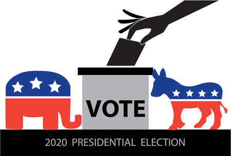 Hand putting voting ballot into vote box with Democrat Donkey and Republican Elephant.The US presidential election 2020. Vector illustration.