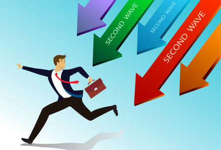 businessman run away from the arrow pointing down. Business failure on coronavirus economy crisis . recession. Financial failure. Economic downturn. Concept of web page design for website and banner. Vector illustration