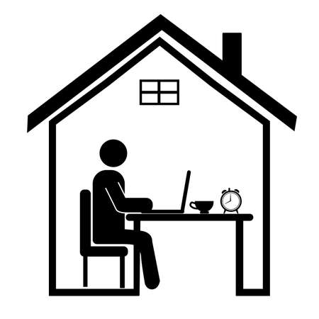 Work from home. Professional working on computer at home.