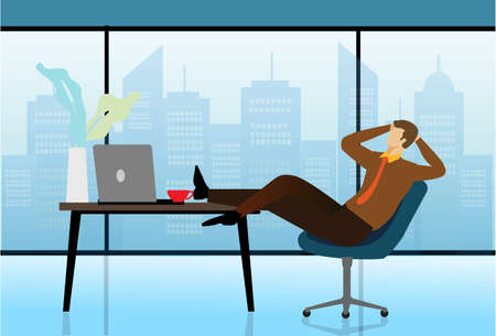 Carefree businessman or manager relaxed in workplace. Man sleeps at table in modern office. Break or Siesta concept.Vector illustration