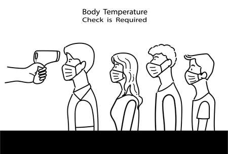 Line drawing of People lining up for body temperature check before entry, COVID-19 prevention illustration in flat style