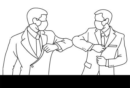 Line drawing of businessmen with a medical mask on their faces greet in a new way, striking with their elbows instead of a handshake. Social distance during the coronavirus epidemic. vector, illustration