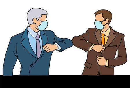 Two businessmen with a medical mask on their faces greet in a new way, striking with their elbows instead of a handshake. Social distance during the coronavirus epidemic. vector, illustration