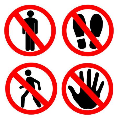 No entry sign set . No man , no shoes , no man walk and hand stop. Ilustración de vector